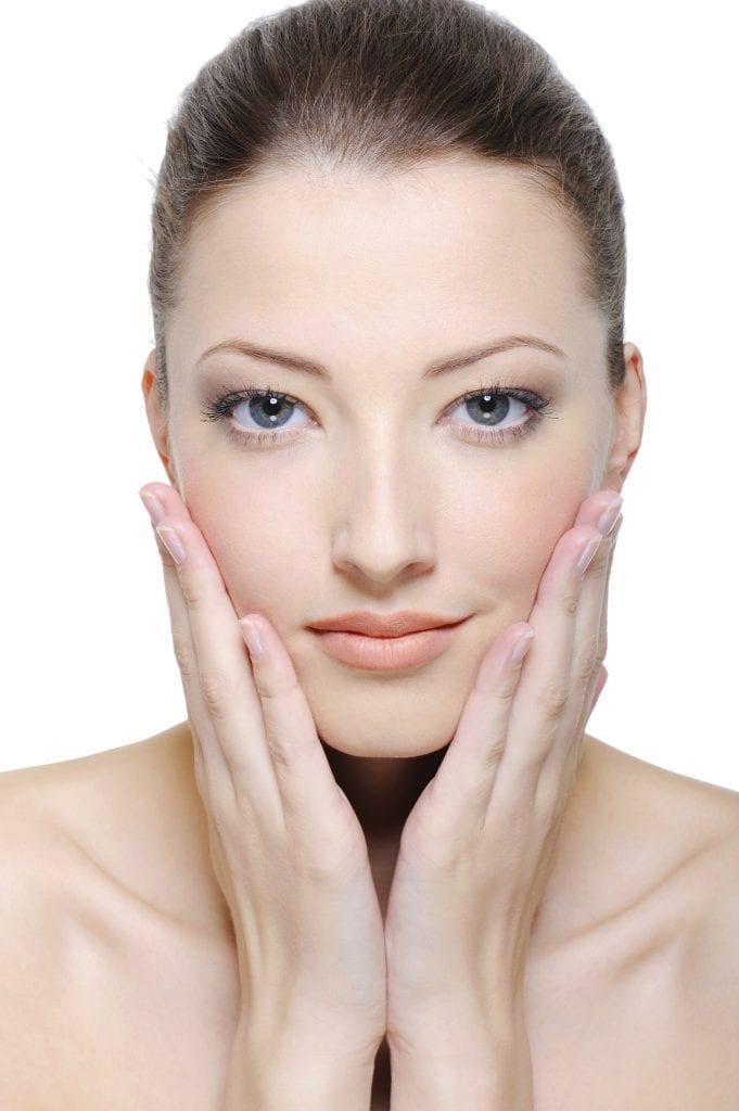 Stroking face skin