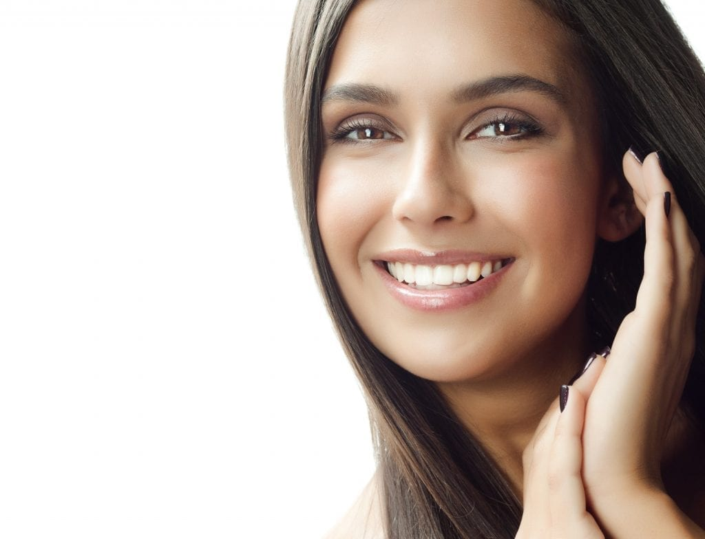smiling woman with beautiful skin