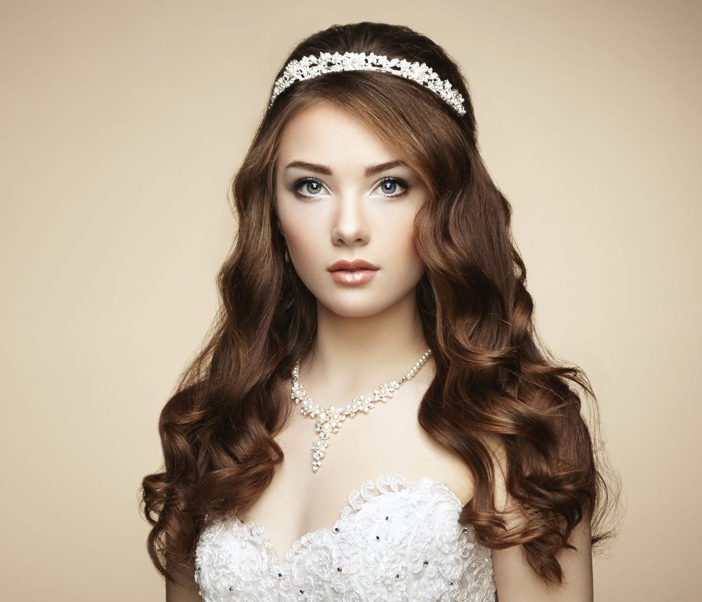 portrait of beautiful bride with hair and makeup done