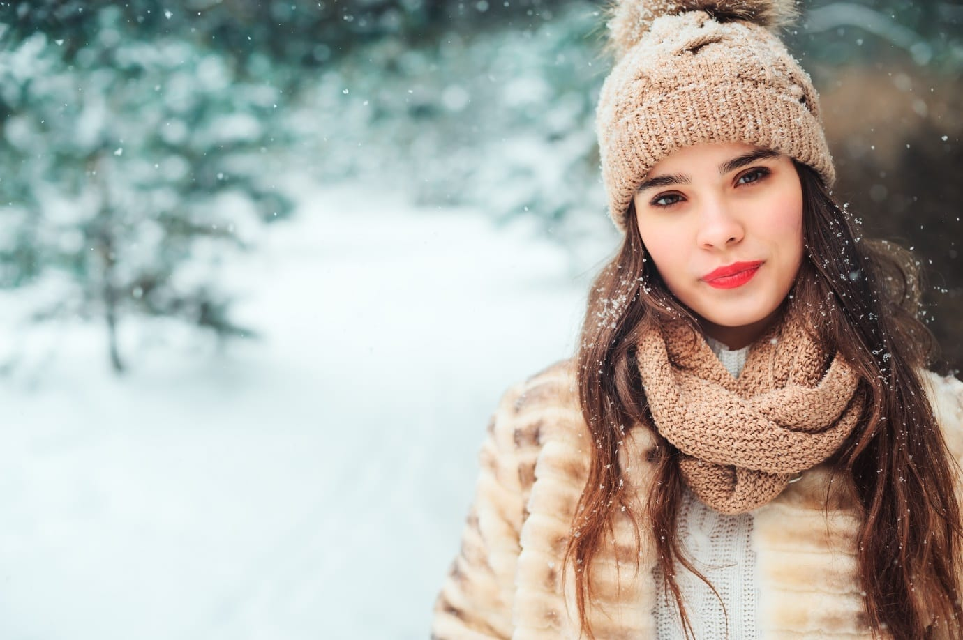 woman with beautiful skin in cold weather