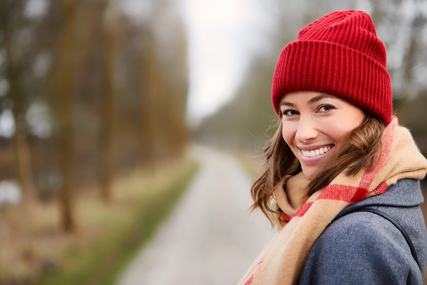 woman with lovely complexion in winter