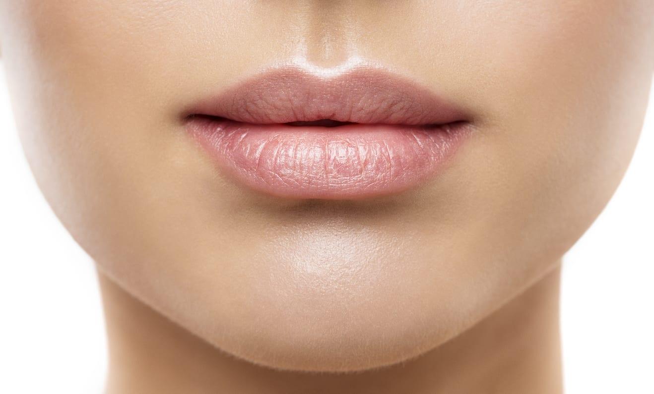 Lips Beauty Closeup, Woman Natural Face Make Up, Beautiful Full Lip and Pink Lipstick